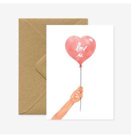 ATWS Wenskaart - Heart balloon- Dubbele kaart + Envelop - 11,5 x 16,5 - Blanco
