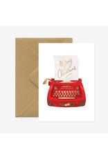 ATWS Wenskaart - Kerst- Typewriter  - Dubbele kaart + Envelop - 11,5 x 16,5 - Blanco