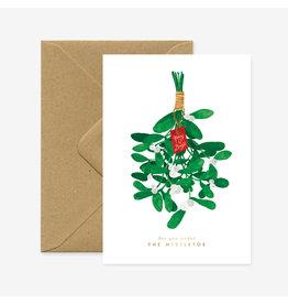 ATWS Wenskaart - Kerst- Mistletoe - Dubbele kaart + Envelop - 11,5 x 16,5 - Blanco