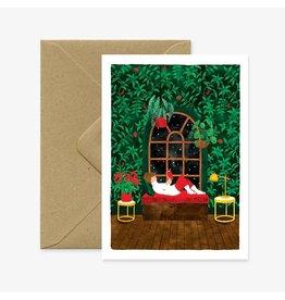 ATWS Wenskaart - Kerst- Winter - Dubbele kaart + Envelop - 11,5 x 16,5 - Blanco