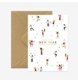 ATWS Wenskaart - Kerst- New Year dancers  - Dubbele kaart + Envelop - 11,5 x 16,5 - Blanco