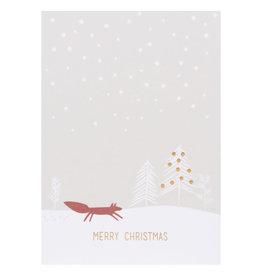 Raeder Wenskaart- Kerst- Vos- letterpress- enkele kaart met envelop