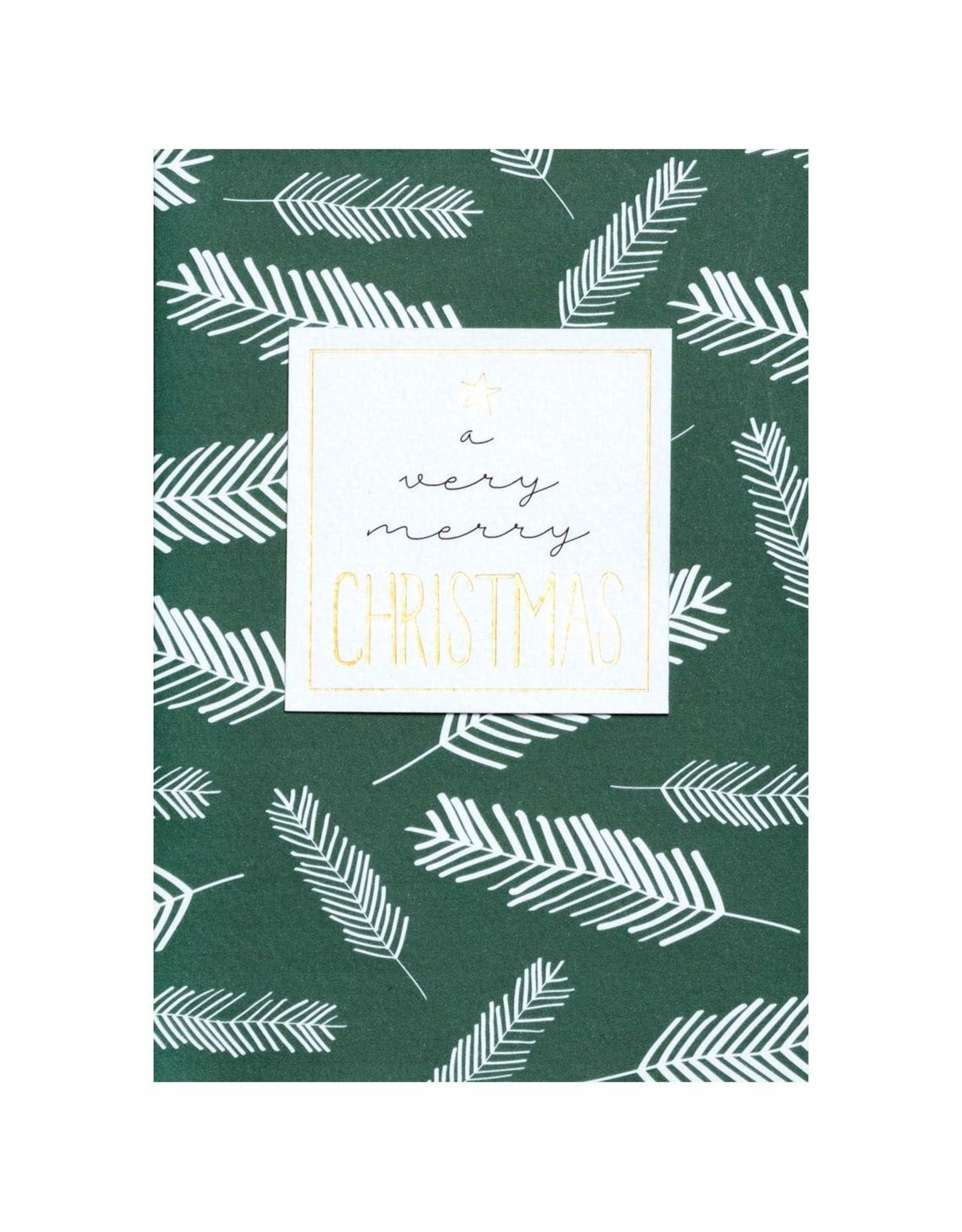 Wenskaart- Kerst - A very merry christmas -donkergroen den-dubbele kaart
