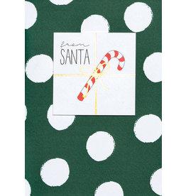 Wenskaart- Kerst - From santa -donkergroen bollen-dubbele kaart