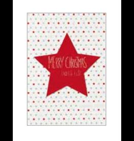 Wenskaart- Kerst - Merry Christmas - rode ster-dubbele kaart