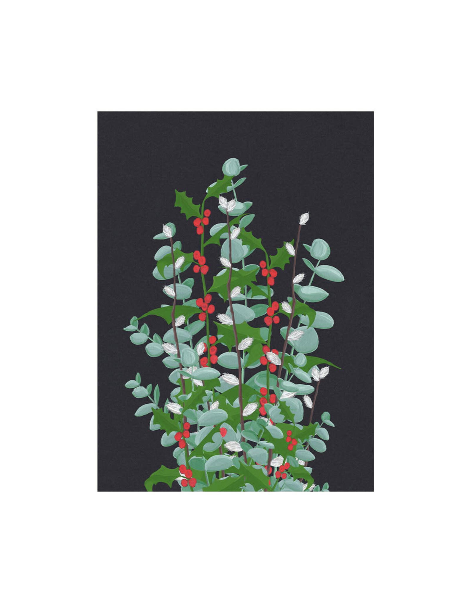 stengun drawings Wenskaart -Kerst- Christmasmarket- zwarte achtergrond- dubbele kaart - envelop-blanco