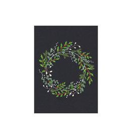 stengun drawings Wenskaart -Kerst- Christmaswreath- zwarte achtergrond- dubbele kaart - envelop-blanco