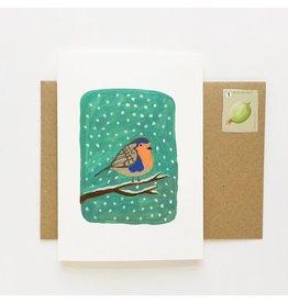 Pink Cloud Studio Wenskaart- Kerst - Roodborstje- dubbele kaart met envelop
