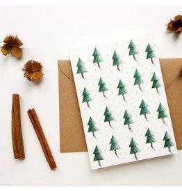 Wenskaart- Kerst - Forest- dubbele kaart