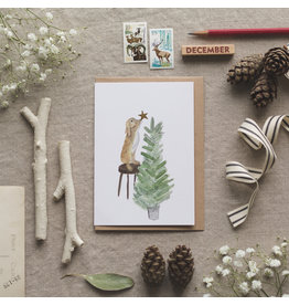 Dear Prudence Wenskaart- Kerst - Rabbit golden star- dubbele kaart