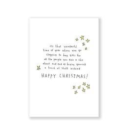 Eat Mielies Wenskaart - Kerst - Happy Christmas stars- dubbele kaart met envelop