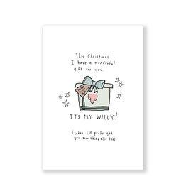 Eat Mielies Wenskaart - Kerst - It's my willy present - dubbele kaart met envelop