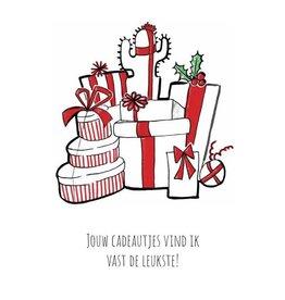Fries Donche wenskaart -kerst- Jouw cadeautjes vind ik de leukste! - enkele kaart met envelop