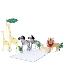 Meri Meri Wenskaart - Safari Baby card + Envelope  - 10,5 x 23,5 - Congratulations