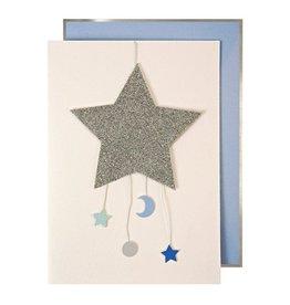 Meri Meri Wenskaart - Baby Boy Mobile + Envelope  - 10,5 x 23,5 - Congratulations