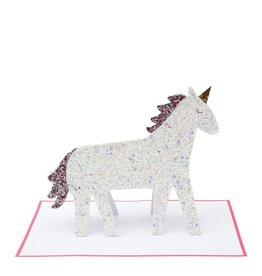 Meri Meri Wenskaart - Unicorn Glitter + envelop - 13,5 x 18,5 - Happy Birthday