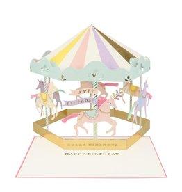 Meri Meri Wenskaart - Carousel concertina + envelop - 13,5 x 18,5 - Happy Birthday