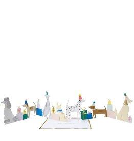 Meri Meri Wenskaart - Dog Party - concertina + envelop - 13,5 x 18,5 - Happy Birthday