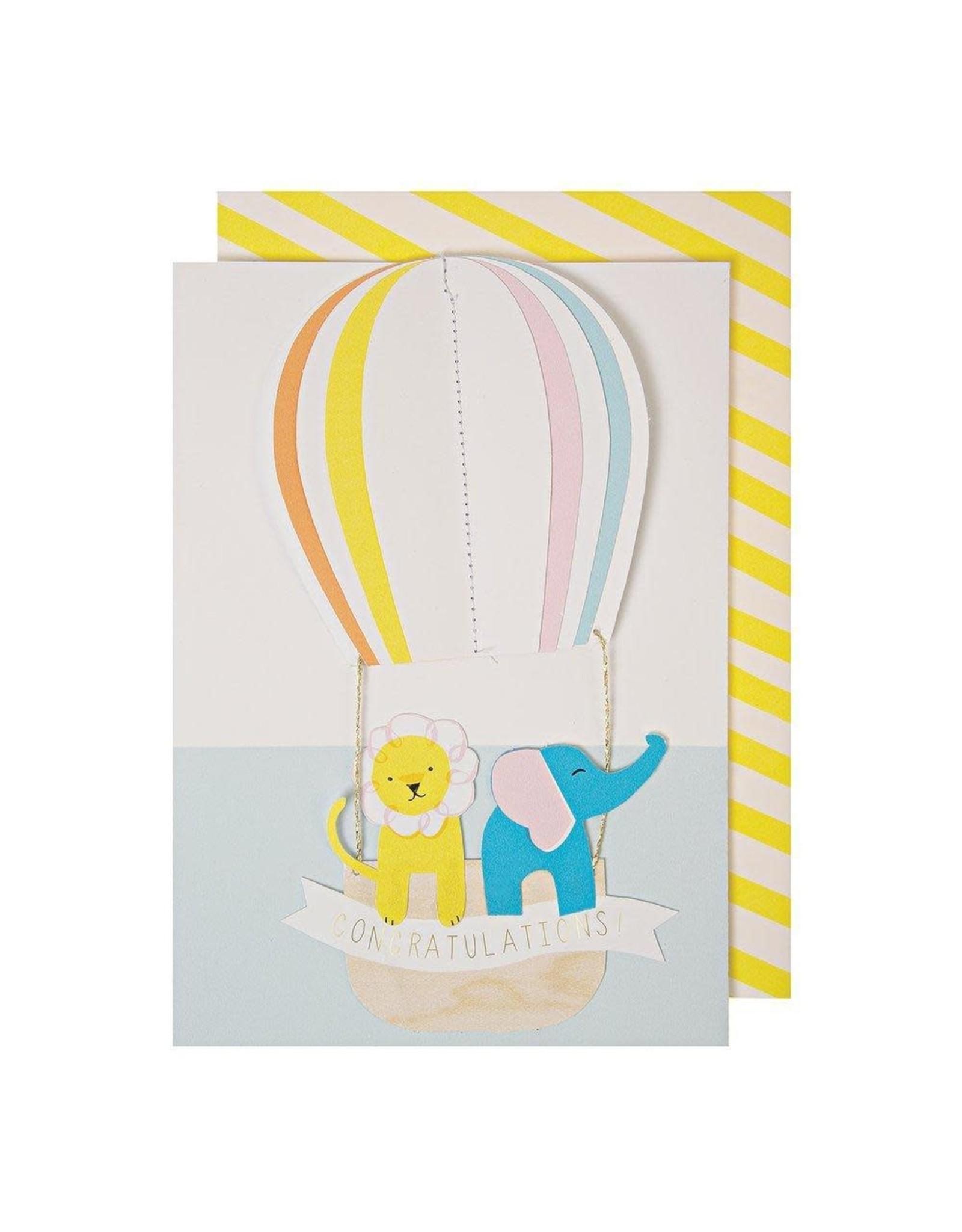 Meri Meri Wenskaart - Hot Air Balloon card + Envelope  - 10,5 x 23,5 - Congratulations