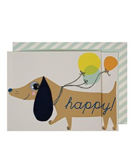 Meri Meri Wenskaart - Sausage Dog balloons card + envelop - 10,5 x 23,5 - Wishing you a Happy Birthday