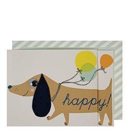 Meri Meri Wenskaart - Sausage Dog balloons