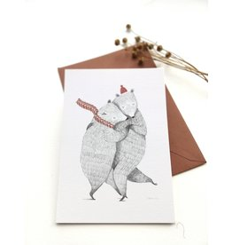 A-line tekent Wenskaart - Kerst - Dansende beren - postkaart met envelop-blanco