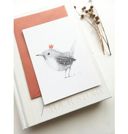 A-line tekent Wenskaart - Kerst - Winterkoninkje - postkaart met envelop-blanco