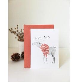 A-line tekent Wenskaart - Kerst - Eland met vogels - postkaart met envelop-blanco