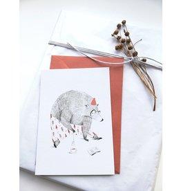A-line tekent Wenskaart - Kerst - Beer met thee -dubbele kaart met envelop-blanco