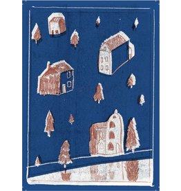 Kayo Quintens Wenskaart - Kerst - Winter blauw/bruin - postkaart met envelop
