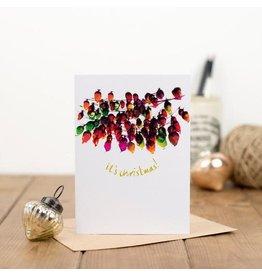 Plewsy Wenskaart - Kerst - It's Christmas lampjesslinger - dubbele kaart met envelop