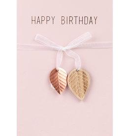 Raeder Wenskaart - Happy Birthday 2 blaadjes- dubbele kaart met envelop