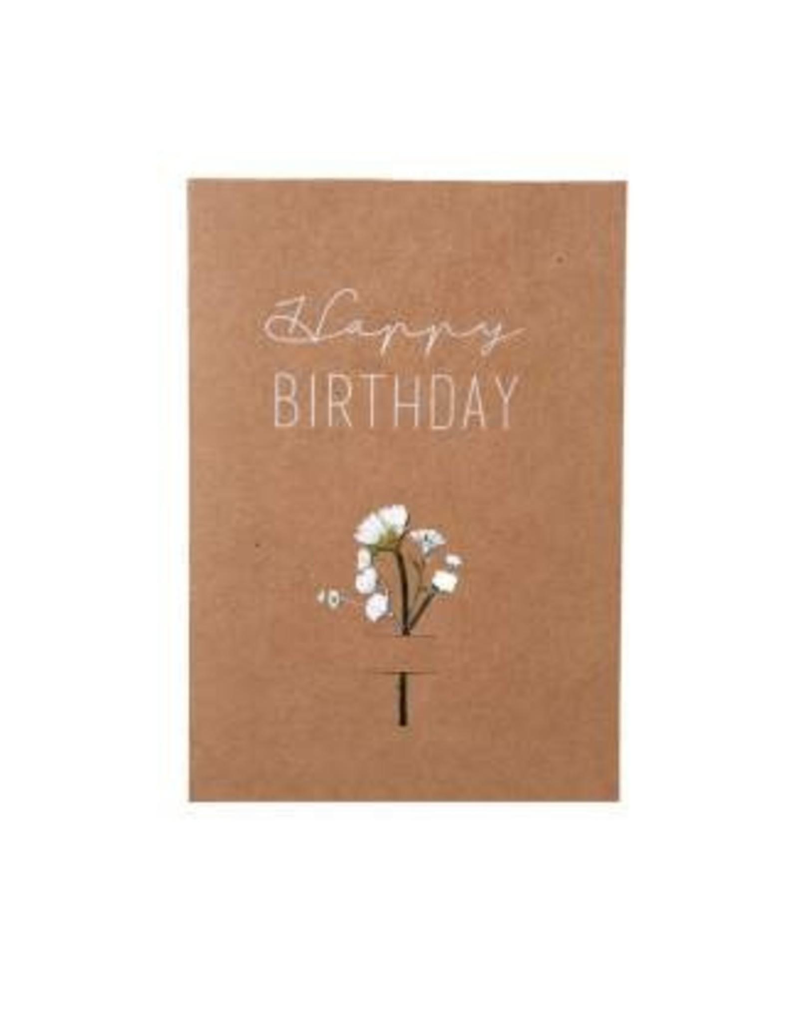 Raeder Wenskaart - Happy Birthday droogbloem wit - dubbele kaart met envelop