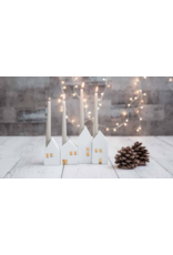Raeder Kaarsenhouder - Adventshuisjes - 4st - Gouden deur en ramen