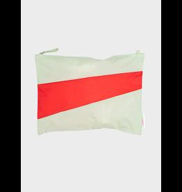 Susan Bijl Pouch L, Pistachio & Red light | 35 x 25cm