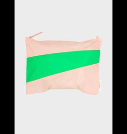 Susan Bijl Pouch L, Powder & Greenscreen | 35 x 25cm