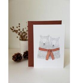 A-line tekent Wenskaart - Kerst - Beren samen met  sjaal - postkaart met envelop-blanco