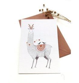 A-line tekent Wenskaart - Kerst - Lama met twee vogels -dubbele kaart met envelop-blanco