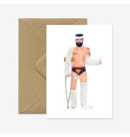 ATWS Wenskaart - Super Hero, Recovery - Dubbele kaart + Envelop - 11,5 x 16,5 - Blanco