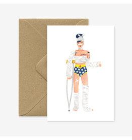 ATWS Wenskaart - Super Girl, Recovery - Dubbele kaart + Envelop - 11,5 x 16,5 - Blanco