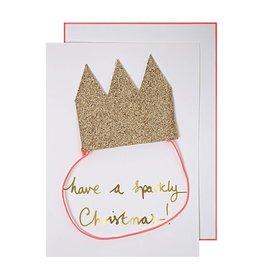 Meri Meri Wenskaart - Kerst - Kroon goudglitters- kaart, kroon, envelop - 132 x 181 mm