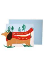 Meri Meri Wenskaart - Kerst - Teckel op ski's - kaart, envelop - 132 x 181 mm