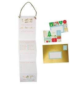 Meri Meri Wenskaart - Kerst - Wenslijst voor de Kerstman- kaart, envelop - 132 x 181 mm