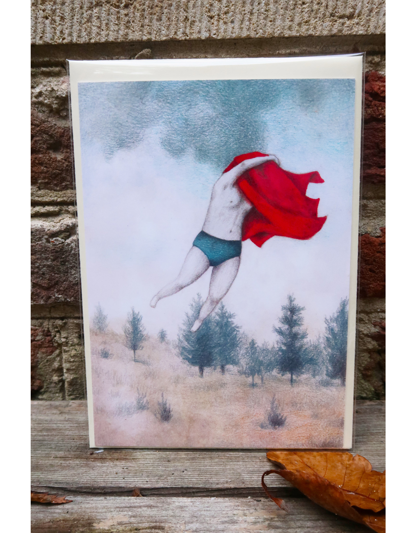 Wenskaart - Supervrouw - postkaart met envelop A6