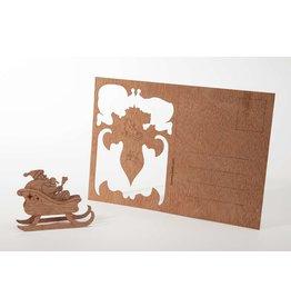 Formes Berlin Wenskaart - Kerst - Kerstman met slee - houten kaart met doordrukfiguur