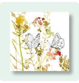 Zintenz Wenskaart - Bloemen en vlinders - Postkaart + envelop - Blanco - 13,5x13,5