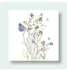 Zintenz Wenskaart - Bloemen en paarse vlinder - Postkaart + envelop - Blanco - 13,5x13,5