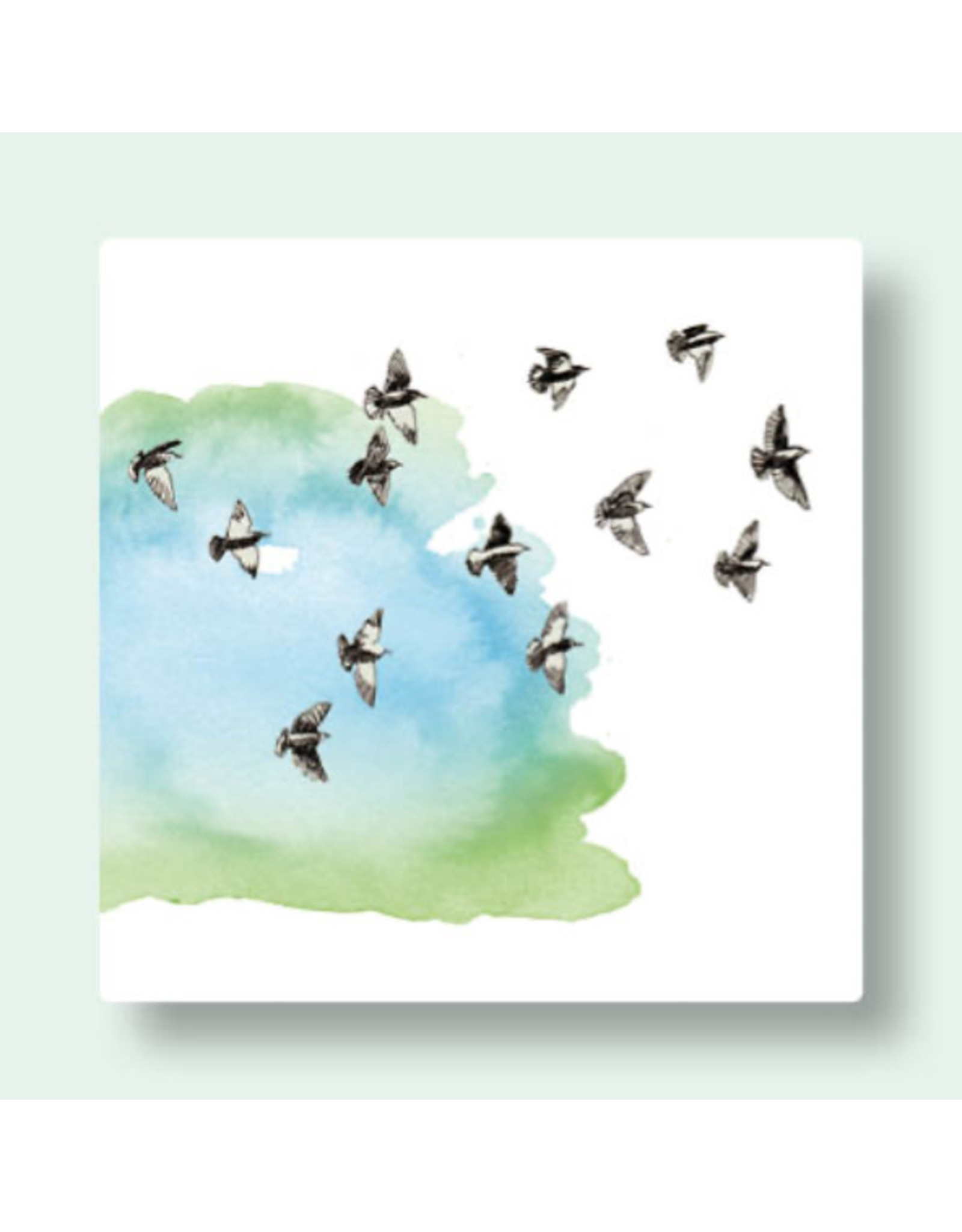 Zintenz Wenskaart - Trekvogels - Postkaart + envelop - Blanco - 13,5x13,5