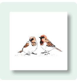 Zintenz Wenskaart - Twee mussen - Postkaart + envelop - Blanco - 13,5x13,5