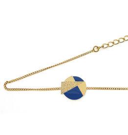 Nadja Carlotti Armband Lizzy - Pruisisch blauw - Messing Verguld